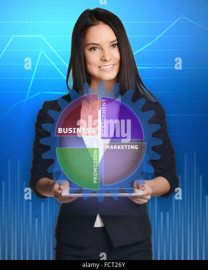 businesswoman with tablet pc against gear management technology - Stock-Bilder