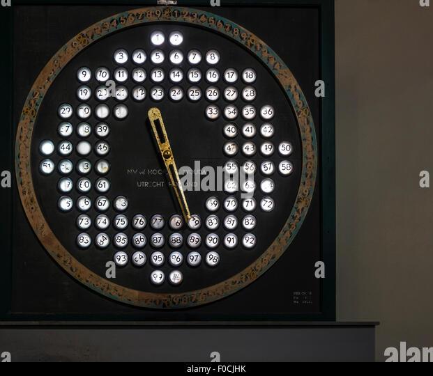 Old Dutch electronic auction clock from NV Van der Hoorn en Wouda for selling shrimps at fish market - Stock Image