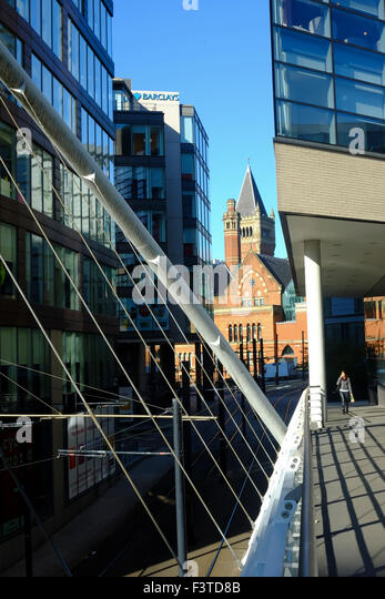 Contrasting architectural styles, Piccadilly, Manchester, UK - Stock Image