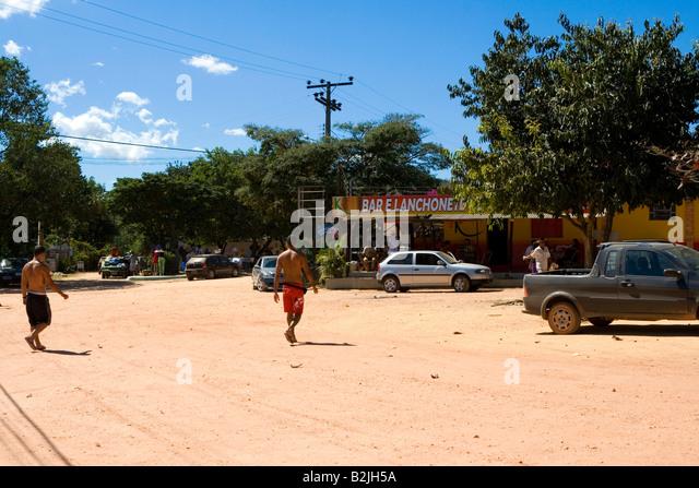 Central Square, Street Scene, Povoado de São Jorge, Goiás, Brazil, South America - Stock Image