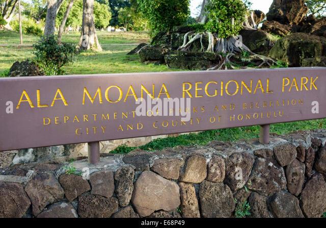Hawaii Hawaiian Honolulu Ala Moana Beach State Regional Park sign - Stock Image