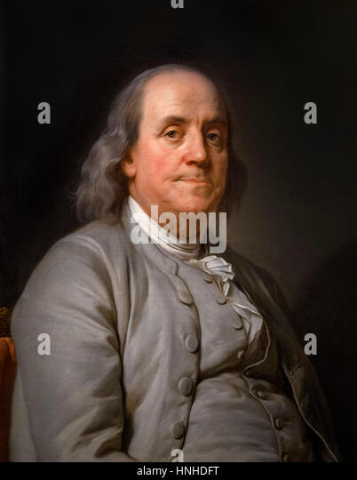 Benjamin Franklin, portrait by Joseph Siffred Duplessis, oil on canvas, c.1785 - Stock Image