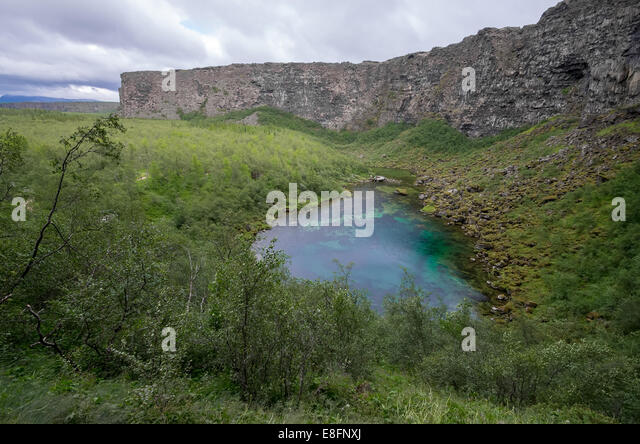 Troll lake at Asbergi - Stock Image