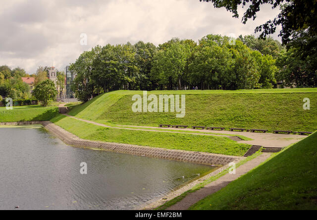 Klaipeda Lithuania attraction old earthen fort rampart defense walls built in the 1700s on John's Hill Old Town - Stock Image