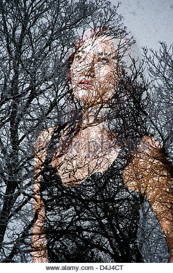 Digital composite of woman and trees - Stock-Bilder