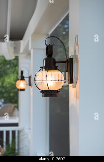 low energy use lighting on screened in porch in Maryland USA - Stock Image
