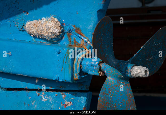 Focus on corroded sacrificial zinc anode. - Stock Image