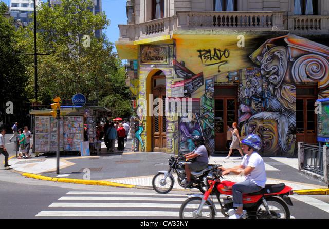 Buenos Aires Argentina Avenida Bernardo de Irigoyen street scene crossing corner building street art graffiti Hispanic - Stock Image