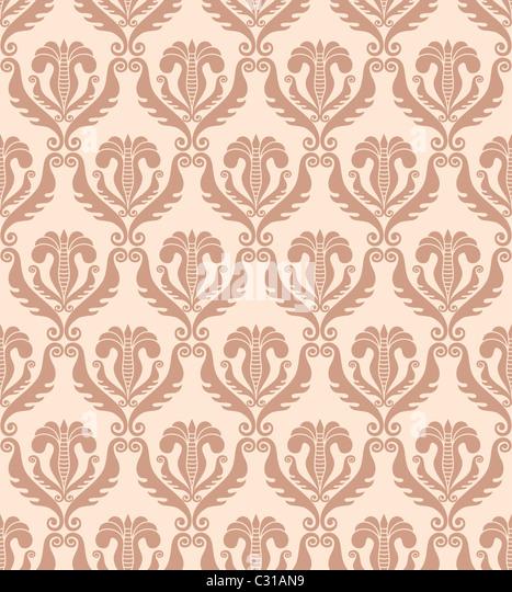 seamless damask wallpaper - Stock Image