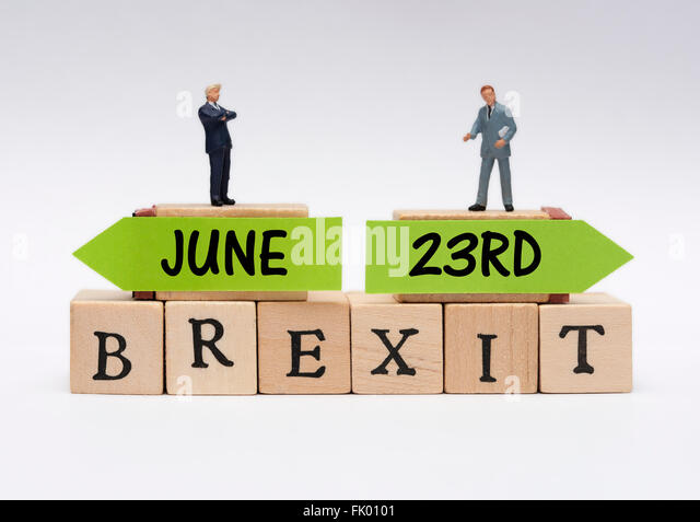 miniature business wearing suits standing on top of Brexit June 23rd decision concept. - Stock Image
