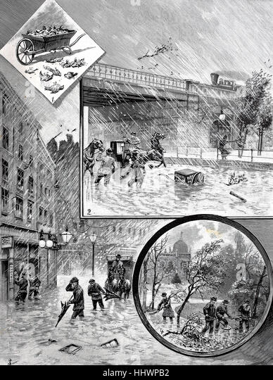 The weather catastrophe, flooding, storm in Vienna, original drawing by M. Ledeli, Austria, historical image or - Stock Image