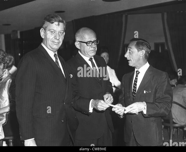 Whitney Tower, Sonny Werblin and Eddie Arcaro, The Jockey Club, Miami, Florida, 1968 - Stock Image
