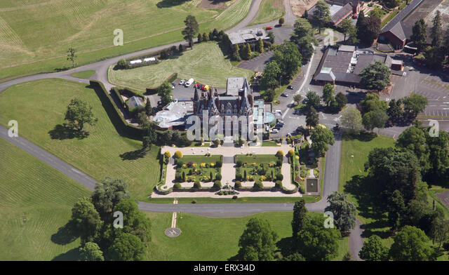 aerial view of Chateau Impney Hotel & Exhibition Centre, Droitwich Spa, Worcestershire, UK - Stock Image