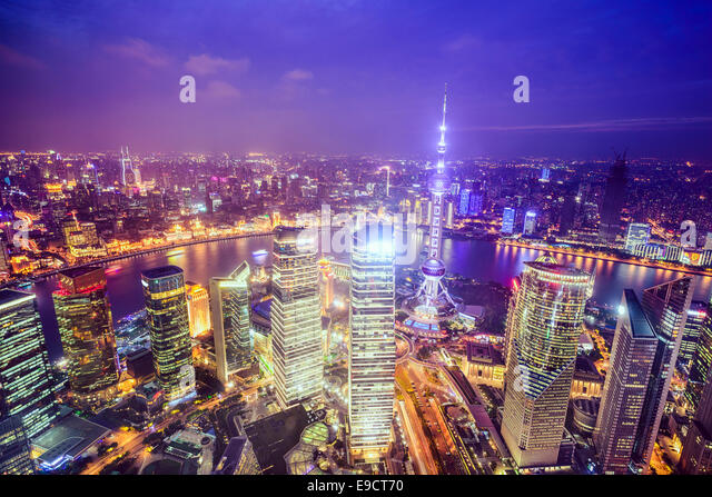 Shanghai, China City Skyline view over the Pudong Financial District. - Stock-Bilder