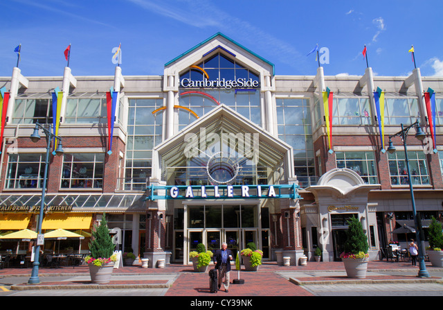 Boston Massachusetts Cambridge CambridgeSide Galleria mall shopping entrance exterior - Stock Image