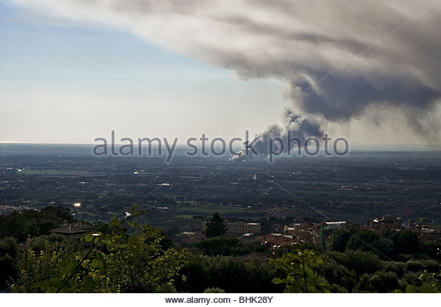 Smoke fire in the distance - Stock Image