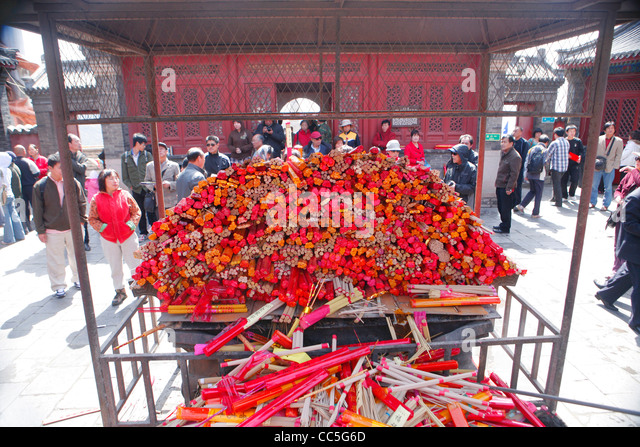 Pile of incenses, Miaofeng Mountain, Beijing, China - Stock Image