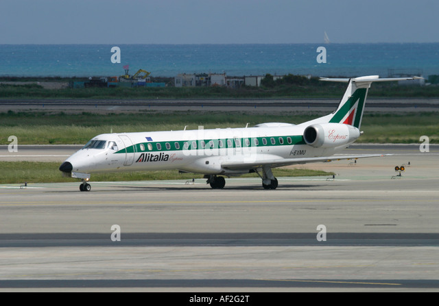 Regional jet Alitalia Express Embraer at Nice Cote d'Azur Airport France - Stock Image