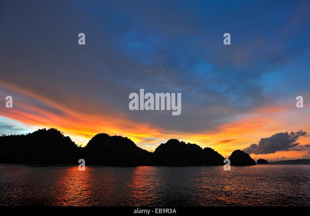 Sunset, Raja Ampat, West Papua, Indonesia - Stock Image