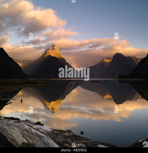 Dawn over Mitre Peak and Milford Sound, New Zealand - Stock Image