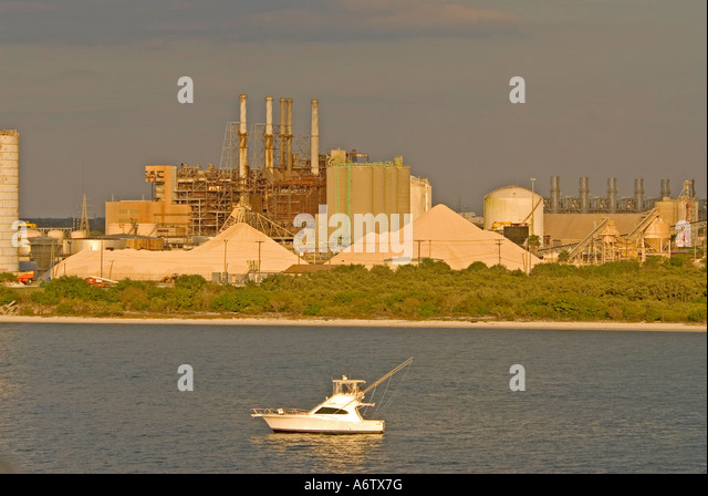 Tampa Florida Port of Tampa sport fishing boat open space text space copy space type space - Stock Image