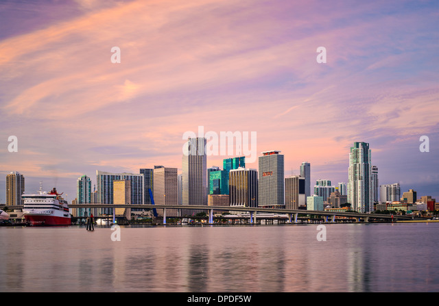 Miami, Florida, USA downtown skyline at dawn. - Stock Image