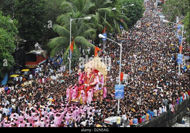 Ganesh immersion procession, Mumbai, Maharashtra, India, Asia - Stock Image