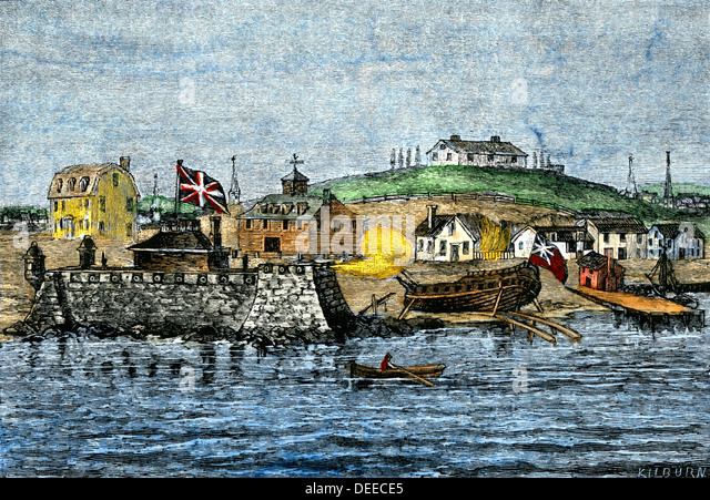 Defensive works along Fort Hill, colonial Boston harbor, 1700s. - Stock Image