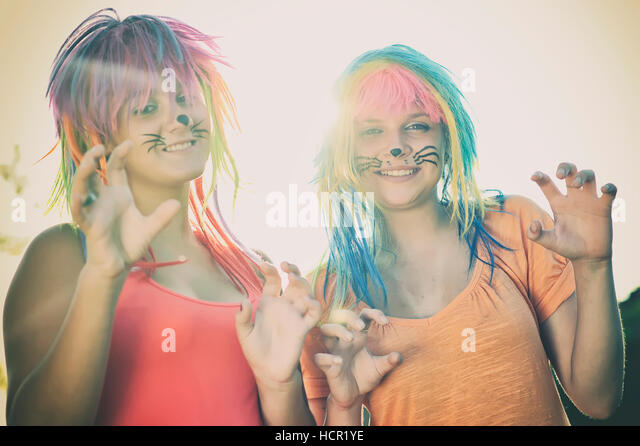 Girl with face painting - Stock Image