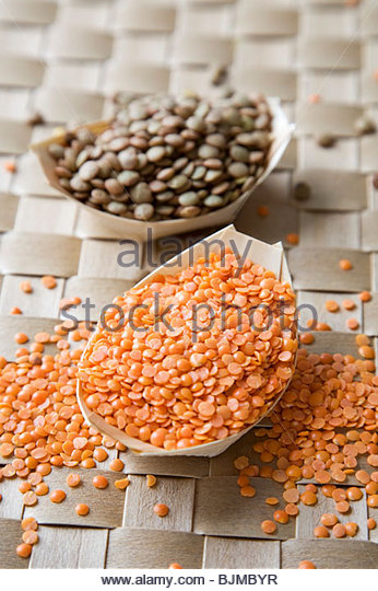 Red and Put Lentils - Stock Image