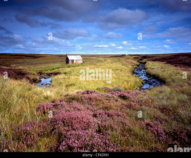 Old crofter's huts on wild moorland on the Isle of Lewis. - Stock-Bilder