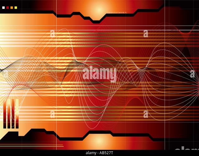 A red and black technical readout with sound waves - Stock-Bilder