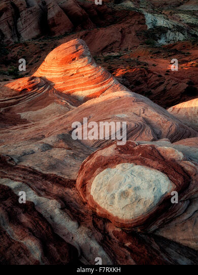 The Fire Wave at first light. Valley of fire State Park, Nevada - Stock Image