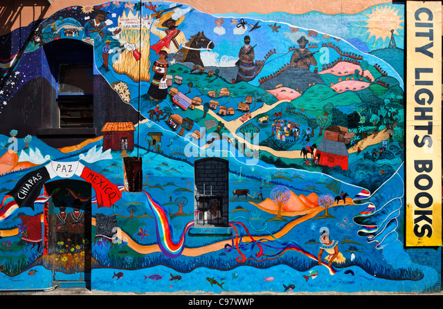 Zapatista chiapas stock photos zapatista chiapas stock for City lights mural