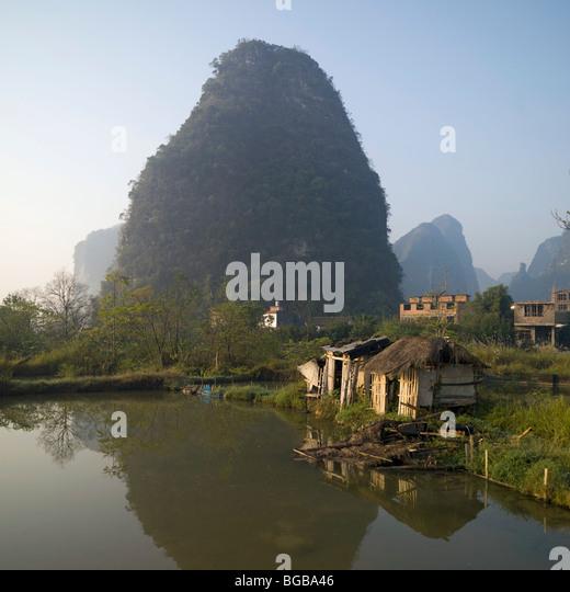 Yangshou, China; Countryside In Yangshou China - Stock Image