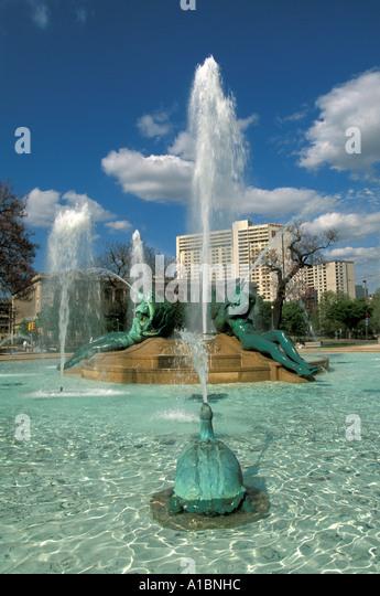 Philadelphia logan square swann fountain - Stock Image