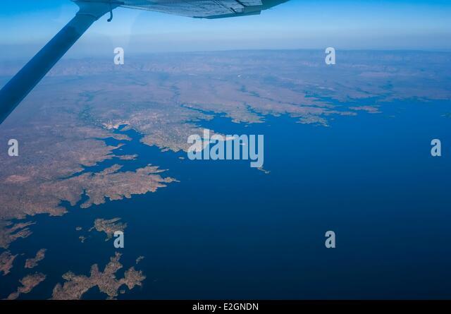 Zimbabwe Mashonaland West Province taxi plane between Hwange and Mana Pools Kariba Lake - Stock Image