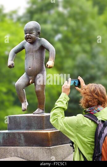 Little Angry Boy, Vigeland Sculpture Park, Vigelandsparken, Oslo, Norway - Stock Image