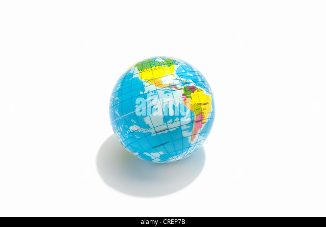 A toy globe showing North and South America - Stock Image