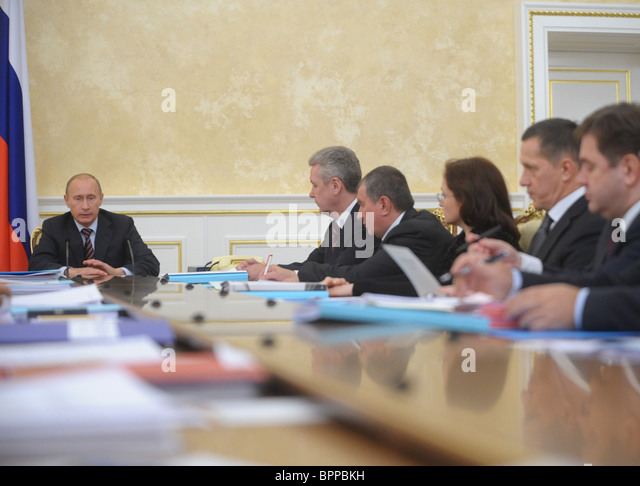 PM Putin chairs meeting on foreign investment - Stock Image