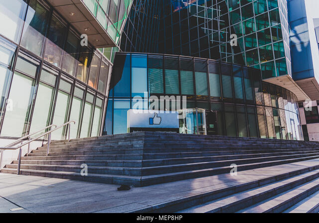 DUBLIN, IRELAND - April 21st, 2018: Facebook corporate office buildings in the renovated Docklands area of Dublin ciy centre - Stock Image
