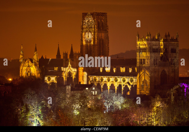 Durham Cathedral with Lumiere lights taken from Wharton Park, the Cathedral front has a show of constantly images - Stock Image