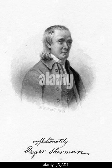 Engraved portrait of Roger Sherman, United States Senator and Representative who was the only person to sign all - Stock Image
