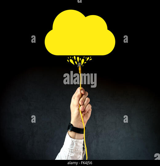 Businessman plugging LAN cable to connect to cloud service, internet technology cloud computing concept, business - Stock Image