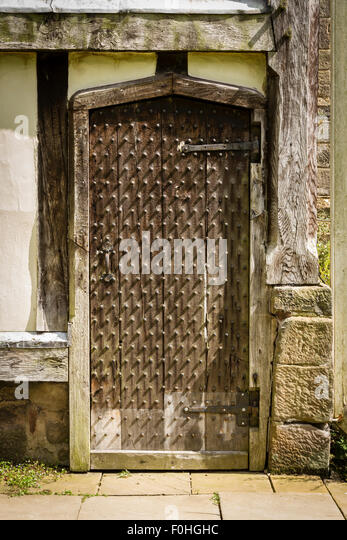 Old Wooden Door at Rufford Old Hall near Ormskirk in Lancashire - Stock Image