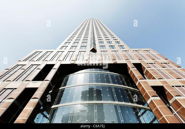 Messeturm fair tower, creative, urban, Frankfurt am Main, Hesse, Germany, Europe - Stock Image