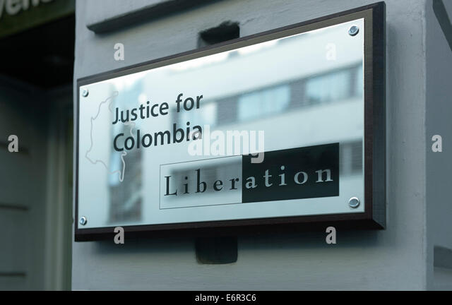 Justice for Colombia door plate in London - Stock Image