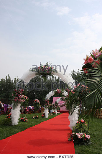 The red carpet on the wedding - Stock Image