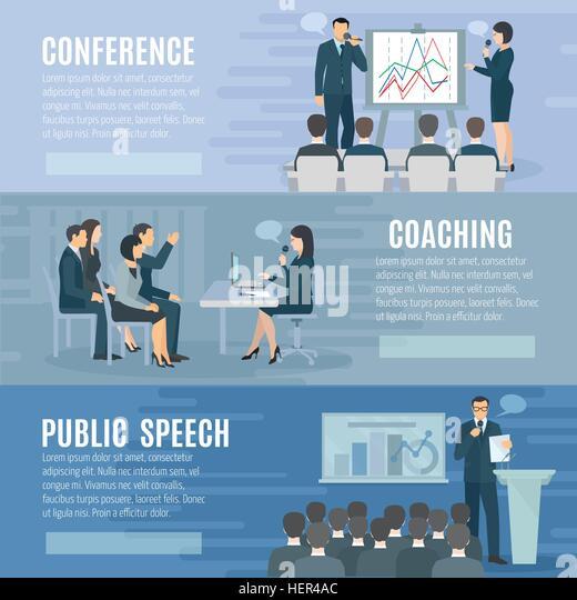 Public Speaking Flat Horizontal Banners Set . Public speech coaching and visual aids presentation skills information - Stock-Bilder