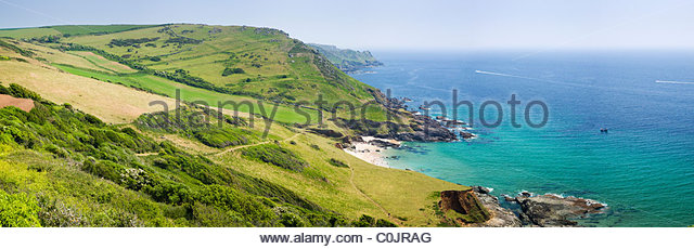 Seacombe Sands from Gara Rock, near Salcombe, South Hams, Devon, England. - Stock Image